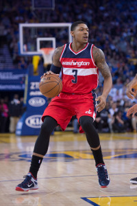 March 23, 2015; Oakland, CA, USA; Washington Wizards guard Bradley Beal (3) dribbles the basketball during the second quarter against the Golden State Warriors at Oracle Arena. The Warriors defeated the Wizards 107-76. Mandatory Credit: Kyle Terada-USA TODAY Sports