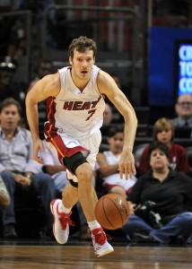 Apr 11, 2015; Miami, FL, USA; Miami Heat guard Goran  Dragic (7) dribbles the ball against the Toronto Raptors during the second half at American Airlines Arena. Mandatory Credit: Steve Mitchell-USA TODAY Sports