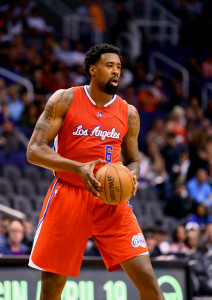 Apr 14, 2015; Phoenix, AZ, USA; Los Angeles Clippers center DeAndre  Jordan (6) against the Phoenix Suns at US Airways Center. Mandatory Credit: Mark J. Rebilas-USA TODAY Sports