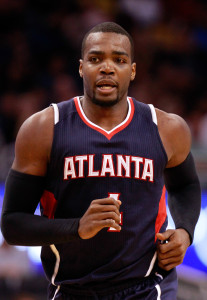 Mar 25, 2015; Orlando, FL, USA; Atlanta Hawks forward Paul  Millsap (4) against the Orlando Magic during the second quarter at Amway Center. Mandatory Credit: Kim Klement-USA TODAY Sports