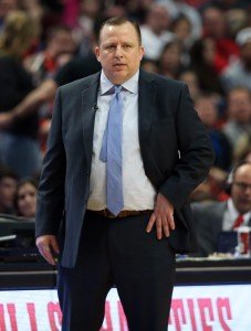 Apr 18, 2015; Chicago, IL, USA; Chicago Bulls head coach Tom Thibodeau during the second quarter in game one of the first round of the 2015 NBA Playoffs against the Milwaukee Bucks at United Center. Mandatory Credit: Jerry Lai-USA TODAY Sports