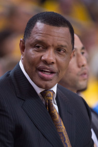 April 18, 2015; Oakland, CA, USA; Golden State Warriors associate head coach Alvin Gentry during the third quarter in game one of the first round of the NBA Playoffs against the New Orleans Pelicans at Oracle Arena. The Warriors defeated the Pelicans 106-99. Mandatory Credit: Kyle Terada-USA TODAY Sports