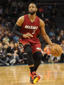 Jan 21, 2015; Charlotte, NC, USA; Miami Heat guard Dwyane Wade (3) during the first half of the game against the Charlotte Hornets at Time Warner Cable Arena. Mandatory Credit: Sam Sharpe-USA TODAY Sports