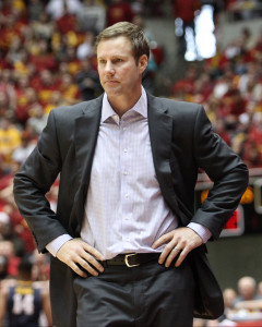 Feb 14, 2015; Ames, IA, USA; Iowa State Cyclones head coach Fred Hoiberg paces the court against the West Virginia Mountaineers at James H. Hilton Coliseum. The Cyclones beat the Mountaineers 79-59.   Mandatory Credit: Reese Strickland-USA TODAY Sports
