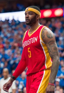 Apr 26, 2015; Dallas, TX, USA; Houston Rockets forward Josh Smith (5) waits for play to resume against the Dallas Mavericks in game four of the first round of the NBA Playoffs at American Airlines Center. The Mavericks defeated the Rockets 121-109. Mandatory Credit: Jerome Miron-USA TODAY Sports