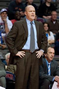 Dec 30, 2012; Auburn Hills, MI, USA; Milwaukee Bucks head coach Scott  Skiles during the third quarter against the Detroit Pistons at The Palace. Pistons won 96-94. Mandatory Credit: Tim Fuller-USA TODAY Sports