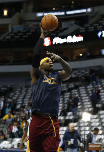 Mar 10, 2015; Dallas, TX, USA; Cleveland Cavaliers center Brendan Haywood  shoots prior to the game against the Dallas Mavericks at American Airlines Center. Mandatory Credit: Matthew Emmons-USA TODAY Sports