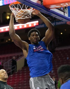 Apr 8, 2015; Philadelphia, PA, USA; Philadelphia 76ers center Joel Embiid (21) dunks the ball before a game against the Washington Wizards at Wells Fargo Center. Mandatory Credit: Bill Streicher-USA TODAY Sports