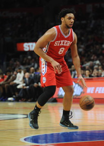 January 2, 2016; Los Angeles, CA, USA; Philadelphia 76ers center Jahlil Okafor (8) controls the ball against Los Angeles Clippers during the first half at Staples Center. Mandatory Credit: Gary A. Vasquez-USA TODAY Sports