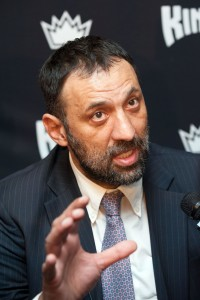 Mar 16, 2015; Sacramento, CA, USA; Sacramento Kings former center Vlade Divac speaks with the press after being named Vice President of Basketball and Franchise operations at Sleep Train Arena. Mandatory Credit: Ed Szczepanski-USA TODAY Sports