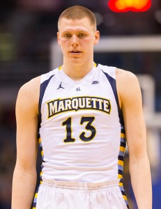 Mar 1, 2016; Milwaukee, WI, USA; Marquette Golden Eagles forward Henry Ellenson (13) during the game against the Georgetown Hoyas at BMO Harris Bradley Center. Marquette won 88-87. Mandatory Credit: Jeff Hanisch-USA TODAY Sports