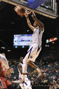 March 9, 2016; Las Vegas, NV, USA; Washington Huskies guard Dejounte Murray (5) dunks the basketball against the Stanford Cardinal during the first half of the Pac-12 Conference tournament at MGM Grand Garden Arena. Mandatory Credit: Kyle Terada-USA TODAY Sports