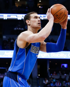 Mar 28, 2016; Denver, CO, USA; Dallas Mavericks forward Dwight Powell (7) takes a shot in the fourth quarter against the Denver Nuggets at the Pepsi Center. The Mavericks defeated the Nuggets 97-88. Mandatory Credit: Isaiah J. Downing-USA TODAY Sports