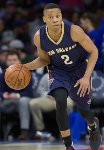 Apr 5, 2016; Philadelphia, PA, USA; New Orleans Pelicans guard Tim Frazier (2) dribbles against the Philadelphia 76ers at Wells Fargo Center. The Philadelphia 76ers won 107-93. Mandatory Credit: Bill Streicher-USA TODAY Sports